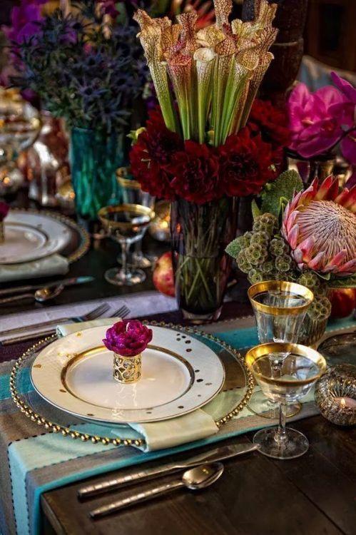 Deco de mesa para una boda en invierno. #decoracion #mesas #boda #casamiento #invierno #dorado