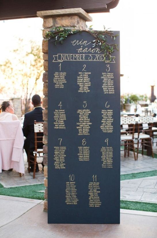 Cute and simple chalkboard wedding reception seating chart idea. Captured By: Alyssa Marie Photography ---> http://www.weddingchicks.com/2014/05/09/lucky-penny-wedding-tradition-you-will-love/: