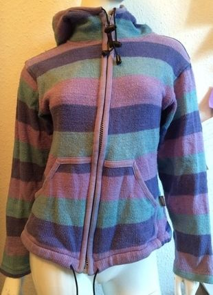 Kaufe meinen Artikel bei #Kleiderkreisel http://www.kleiderkreisel.de/damenmode/pullis-and-sweatshirts-hoodies/111805550-hoodie-kapuzenjacke-s-36-gestreift-lila-turkis-violett-mint-hippie-goa-hipster-nepal-handmade