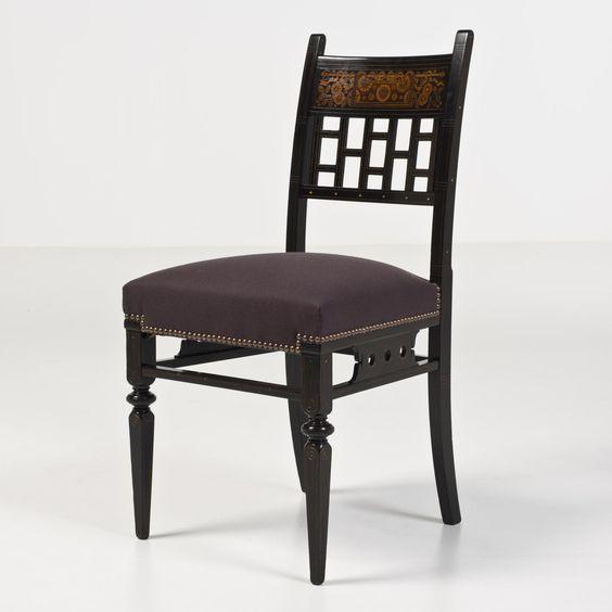 Herter Brothers Gustave (1830-1898), Christian (1839-1883) Chaise dite japonisante Cerisier noirci et citronnier Porte le numéro 4786 Date de création : vers 1874 H 88 × L 43 × P 45 cm