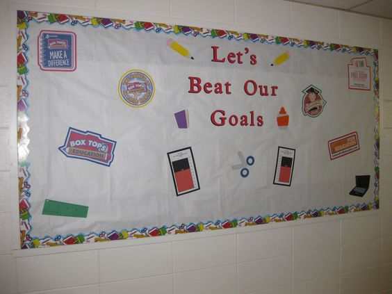 "Our Winter Box Tops and Labels for Education collection contest - ""Let's Beat Our Goals"".  We challenged the students to collect enough Box Tops and Labels for Education to beat the goals we set.  I updated the collection graphs along the way.  The bulletin board was located in our school entryway for everyone to see."