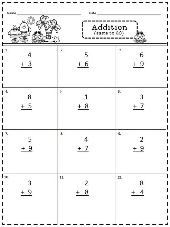 Addition and subtraction word problems within 20 worksheets