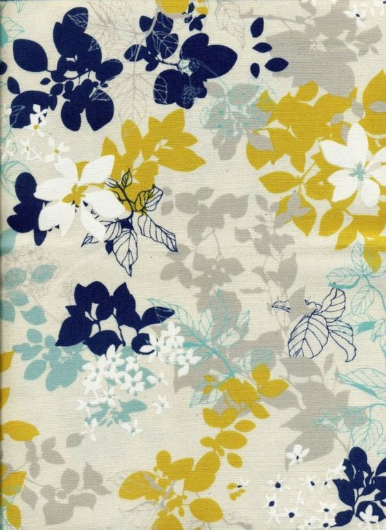 Tree Leaf with White Flower Navy/Yellow Combo by IKOplusFabric
