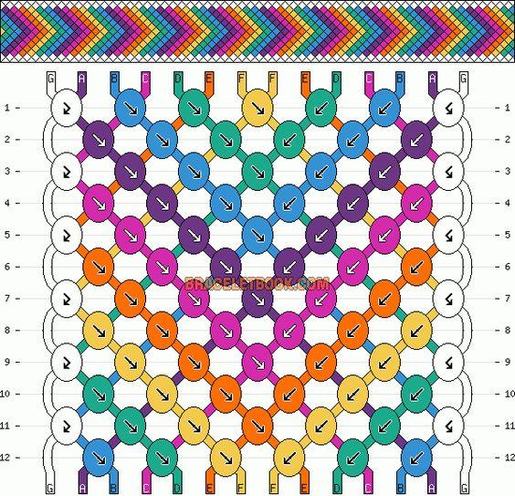 Normal Friendship Bracelet Pattern #2105 - BraceletBook.com                                                                                                                                                      More