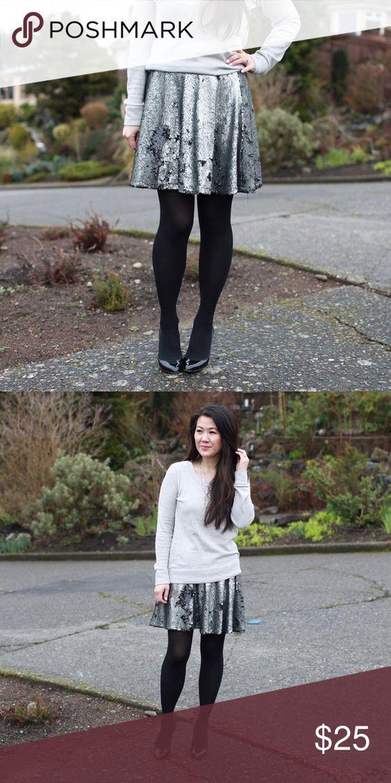 """Gunmetal Sequin skater skirt Elastic waistband. 28.5"""" waist, 17"""" length. Fits sizes 28-31. T&J Designs Skirts"""