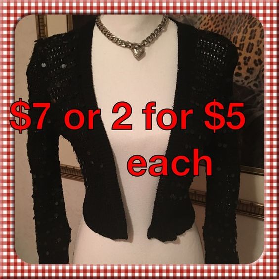 Sequin Cardigan Wrap Cover-up Junior size L Black Cute and convenient! Black slightly sheer sequin cardigan style top Junior size Large Tan or black available 1 @ $7  or 2 @ $5 each Sweaters Cardigans