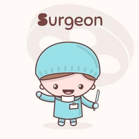 Lindos Personajes Chibi Kawaii Profesiones Del Alfabeto La Letra S Cirujano Estilo Plano De Dibujos Animados Chibi Kawaii Dibujos De Profesiones Medico Dibujo