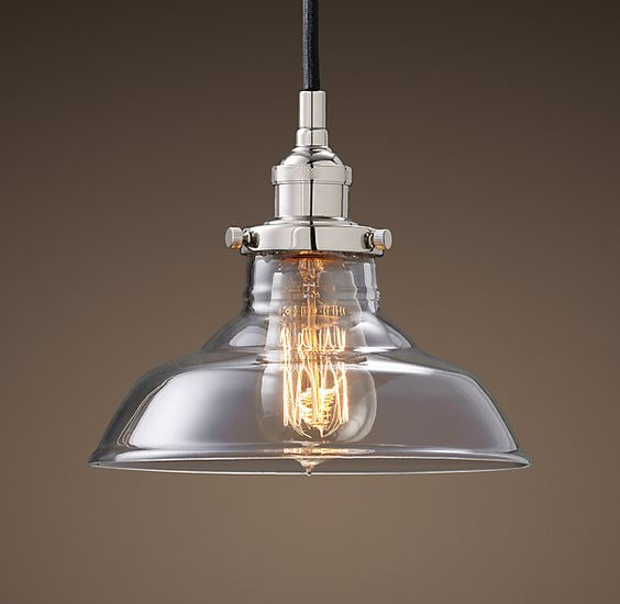 Restoration Hardware Festoon Lighting: Glass Barn Filament Pendant Polished Nickel Light From