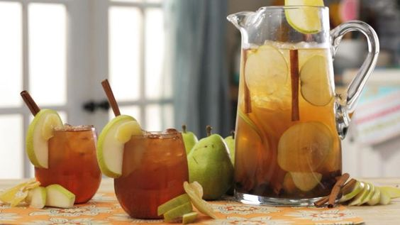 Give your white sangria a fall twist by adding fresh pear, apple cider and cinnamon