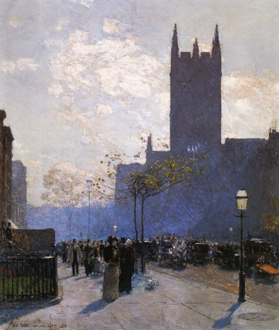 """Lower Fifth Avenue,"" Frederick Childe Hassam, 1890, oil on canvas, 27 x 21"", private collection."