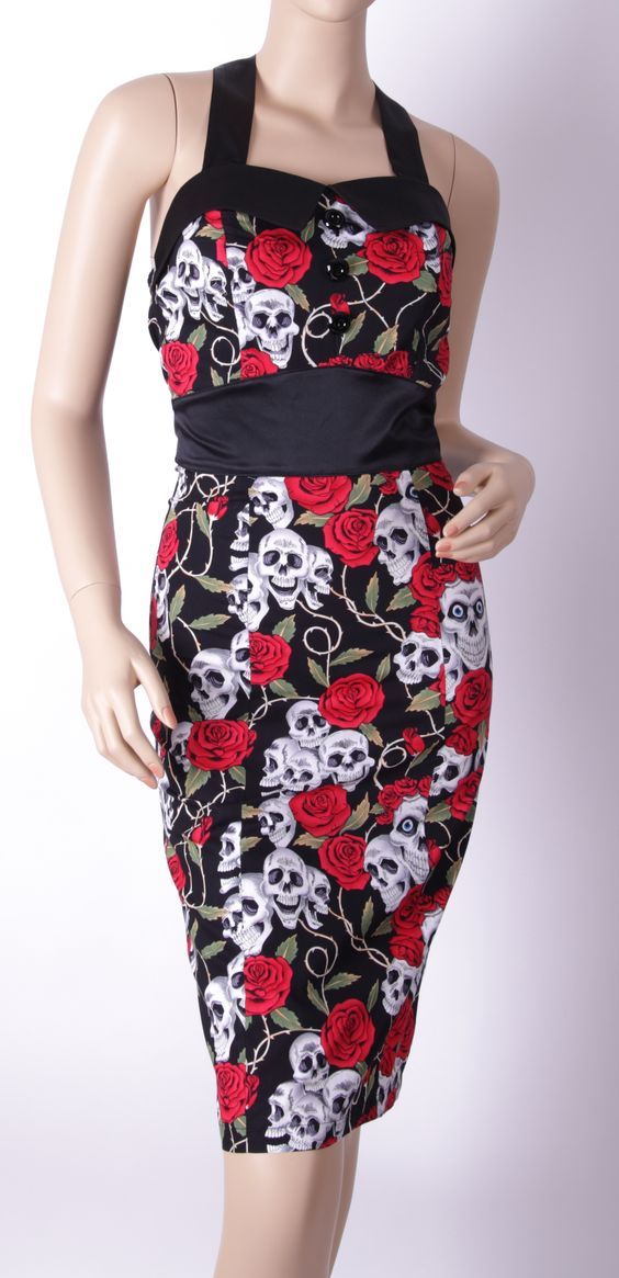 1950s skull rose pencil wiggle pinup Dress 7262B