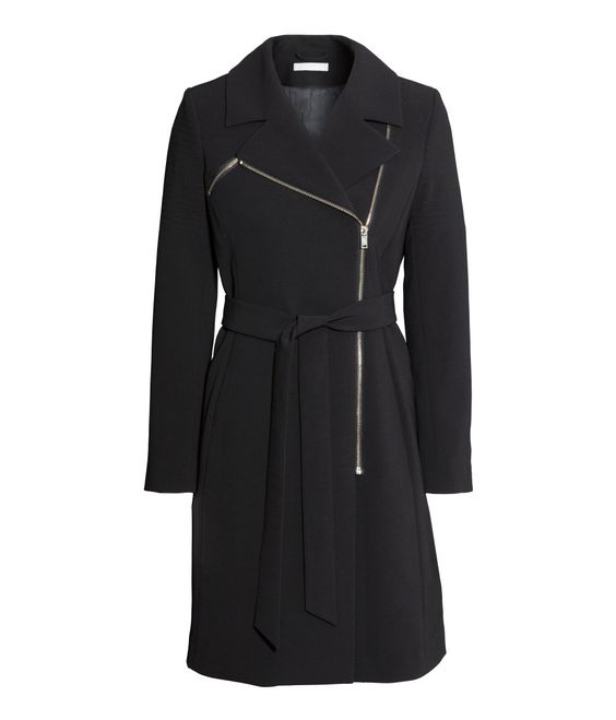 Fitted black coat with asymmetric zip pockets and tie belt