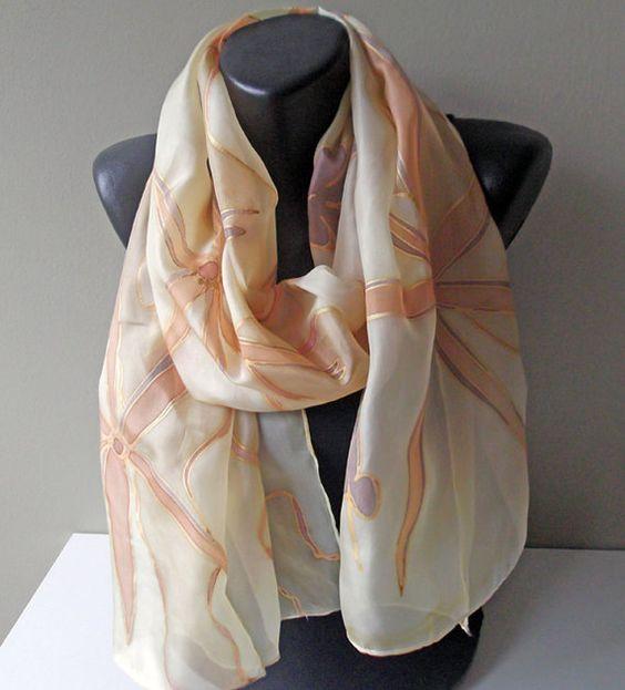 Handmade silk scarf Golden Star ART.311 by MarijanaSilk on Etsy