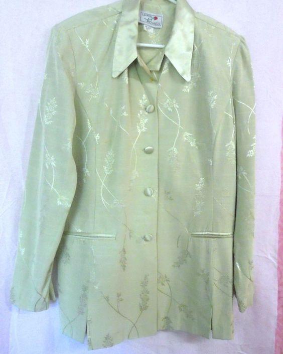 LAUREN MICHEALS pale green Jacket Size:14 Acetate/Rayon SATEEN ...