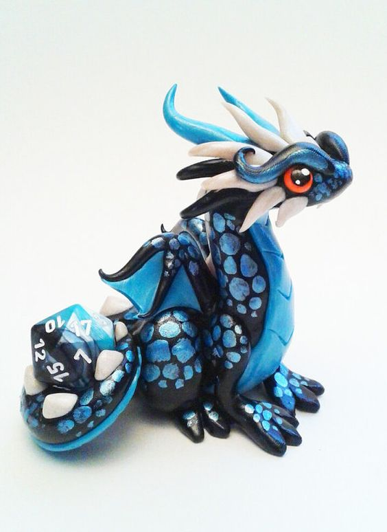 Polymer Clay Dragon Dice Holder Black Teal and Pearl by Emizart