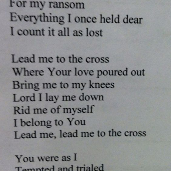 Image result for lead me to the cross lyrics