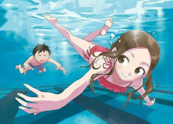 プールに潜っている西片君とからかい上手の高木さんの壁紙