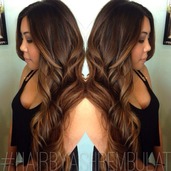 Balayage,,natural black hair to a caramel/blonde painted balayage highlight with shaped up layers and a quick style