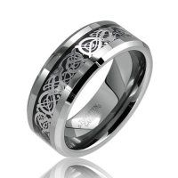 """http://103rdavenue.com/bling-jewelry-celtic-dragon-comfort-fit-black-inlay-tungsten-mens-wedding-ring/ Dragons mean many things to many people. The Celts revered their magic powers and our Celtic Dragon Comfort Fit Black Inlay Tungsten Carbide Mens Wedding Ring will feel like magic when you put it on. The """"comfort fit"""" rounded edges of this tungsten dragon ring lets you put it on and take it off with ease.  Tungsten jewelry is famous for its high..."""