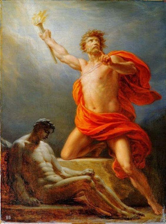 Prométhée apporte le feu à l'humanité - Heinrich Fuger. Allemand. 1751-1818. huile sur toile