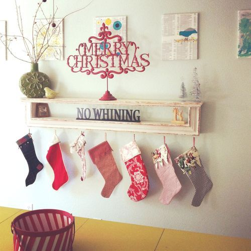 love this idea for hanging stockings without a mantle for the home living room pinterest. Black Bedroom Furniture Sets. Home Design Ideas