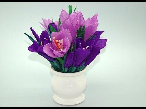 Jak Zrobic Krokusy Z Krepiny Crocuses Diy Youtube Tissue Flowers Diy Flowers Flowers