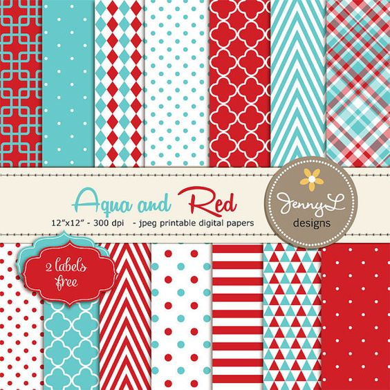 Aqua Blue and Red Digital Papers Turquoise by JennyLDesignsShop