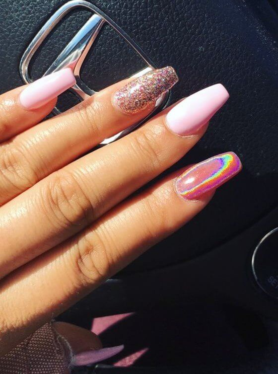 50 Gorgeous Holographic Nails That Are Simply Stunning Holographic Nail Designs August Nails Pink Holographic Nails