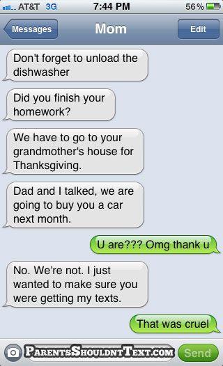 HAHA. smart thinking mom.