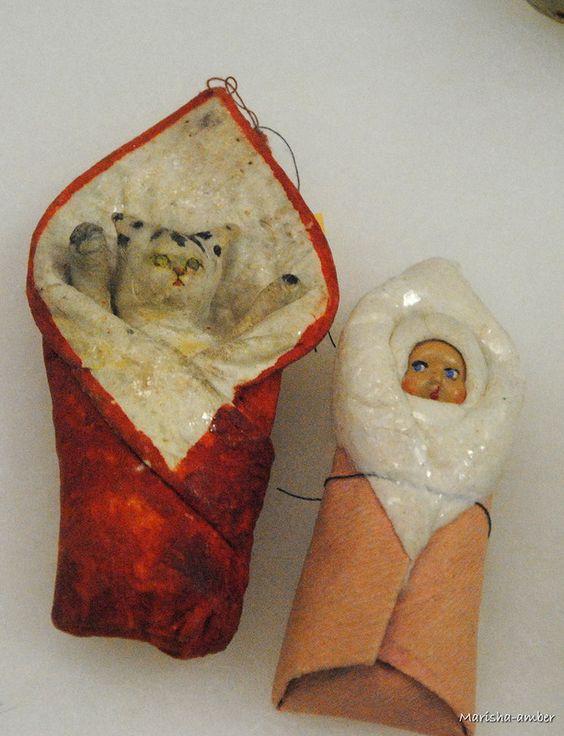 Старые советские елочные ватные игрушки (примерно 40-е-50-е гг. 20 века):