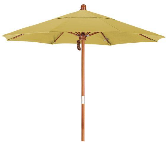 Eclipse Collection 7.5' Wood Market Umbrella Pulley Open Marenti Wood/Sunbrella/Wheat