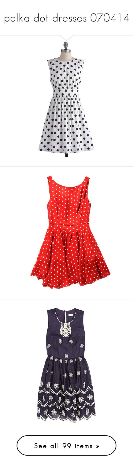 """polka dot dresses 070414"" by a-lovetypething ❤ liked on Polyvore featuring dresses, white, modcloth, black, polka dot, apparel, fashion dress, black dress, skater skirt and white skater skirt"