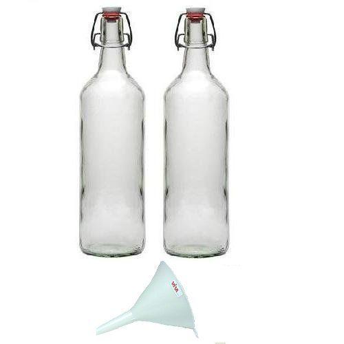 Viva Haushaltswaren - 2 Glasflaschen 1 L mit Bügelverschluss zum Selbstbefüllen inklusive einem weißem Einfülltrichter Durchmesser 12 cm, 13,99 Euro