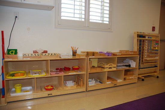 Just Montessori.. basic layout of math materials with photos and short descriptions