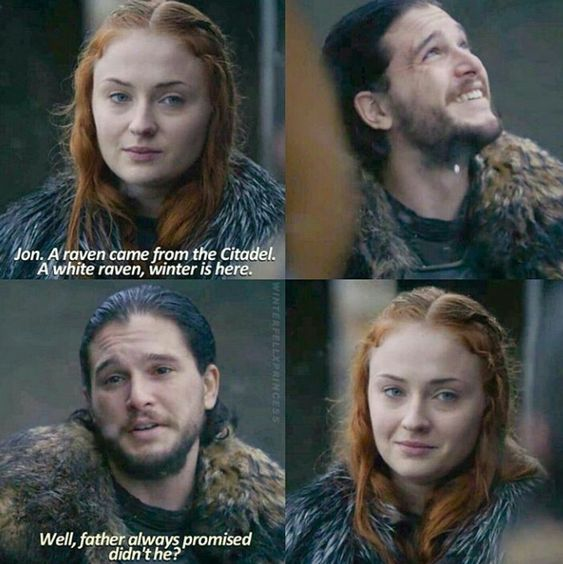 """A raven came from the Citadel. A white raven. Winter is here"" - Jon & Sansa #GameOfThrones"
