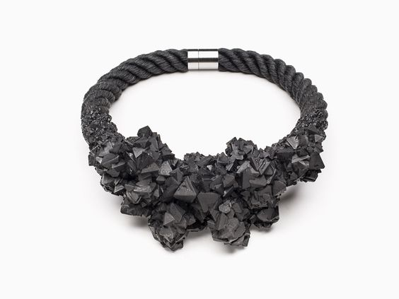 Zorya, Virus Crystallized Cluster Necklace, 2014,linen flax rope, white crystals,magnetic stainless steel clasp, 515 mm in circumference, photo: Tomáš Brabec and Patrik Borecký