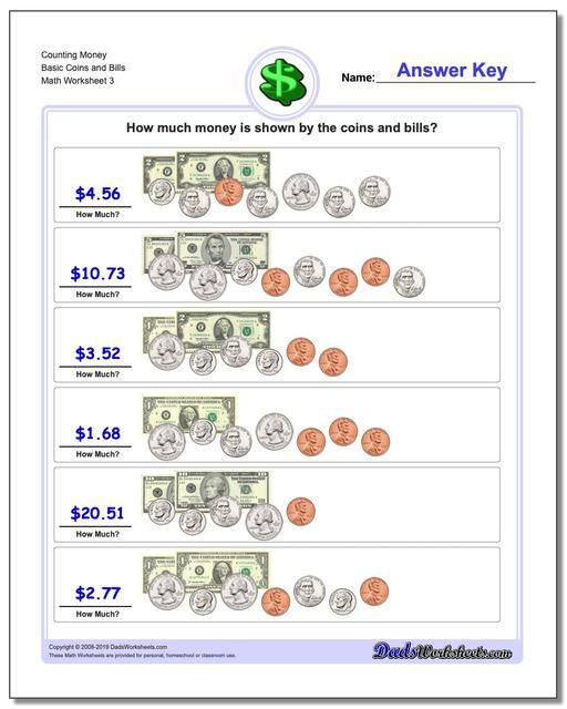 Pin By Dadsworksheets Com On Money Kindergarten Money Worksheets Money Worksheets Money Math Worksheets Simple making change worksheets