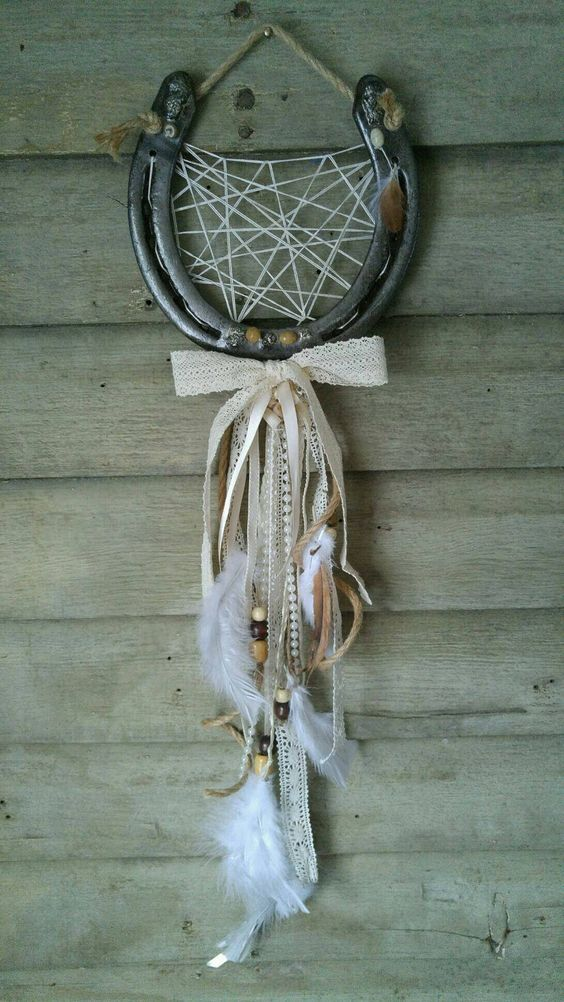 """A rustic horseshoe wedding luck catcher, a beautiful home decor piece that gives you luck for a life time! Wedding day decor, country home decor, etsy shop, rustic decor, wedding gifts, valentines day gift, feather decor, horseshoe wedding decor Large real draft horseshoe and 30"""" long hanging!"""