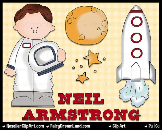 Neil Armstrong Digital Clip Art - Commercial Use Graphic Image Png Clipart Set - Instant Download - Famous Astronaut Aviator Professor