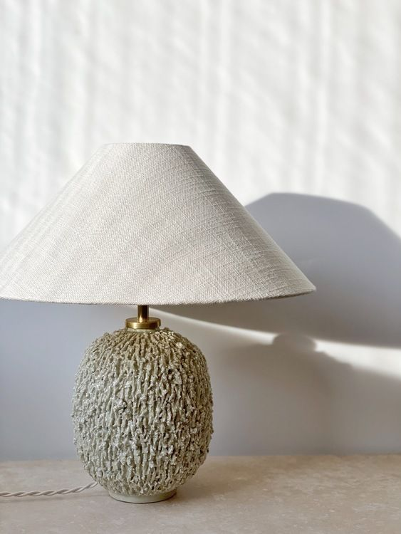 Gunnar Nylund Large Cream Colored Table Lamp Chamotte 1940s I