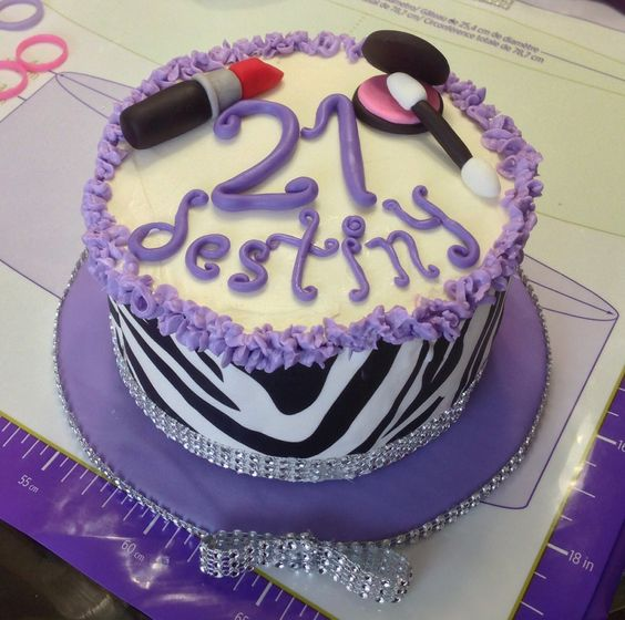 21st Birthday Cake With Edible Sugar Sheets (zebra Print