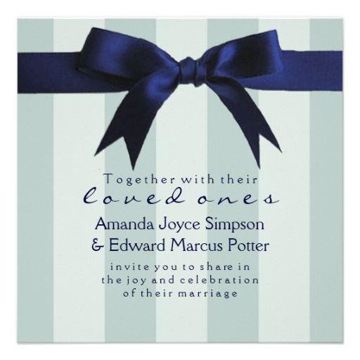 MODERN NAVY BLUE RIBBON BOW WEDDING DAY INVITATIONS
