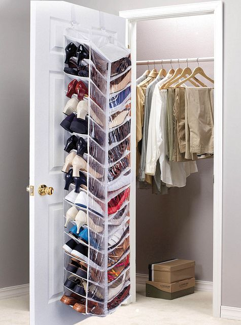 Shoes storage - transparent textile shelves #shoes #closet #organization #storage: