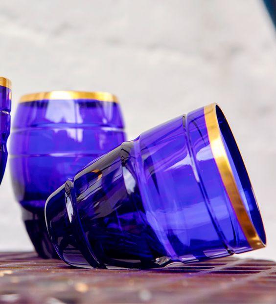 Saint Louis theoreme blue crystal glass tumbler barware tableware. Harlequin London.