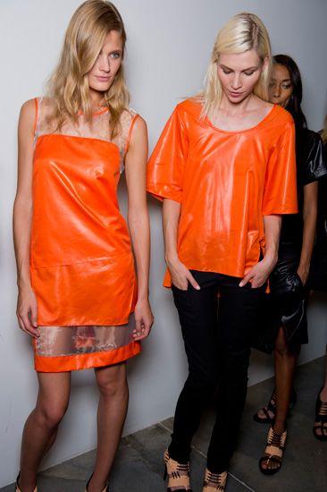 orange leather at Helmut Lang