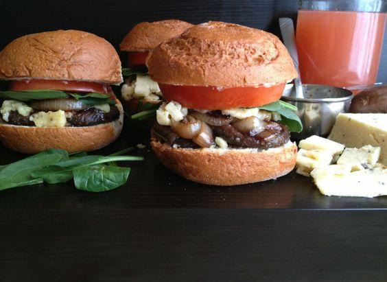 Grilled Rosemary Mushroom Burger with English Truffle Cheddar
