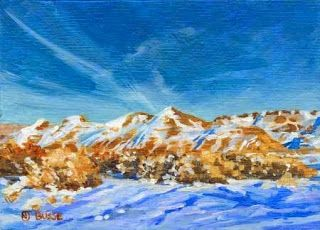 "Contemporary Artists of Colorado: Colorado Mountain Landscape Painting ""Winter Sun"" Colorado Artist Nancee Jean Busse, Painter of the American West"