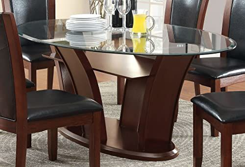Chic Furniture Of America Okeho Contemporary Oval Glass Top Dining Table Furnitu Contemporary Oval Dining Table Glass Dining Room Table Dining Table In Kitchen