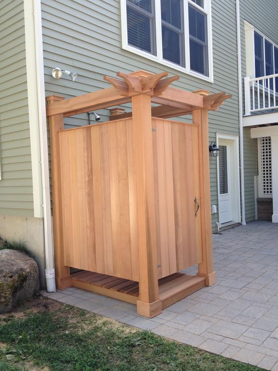 outdoor shower by JKShea Construction