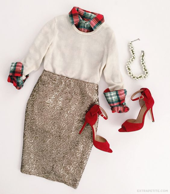 Christmas / holiday office party outfit idea - sequin skirt, plaid shirt, red bow heels